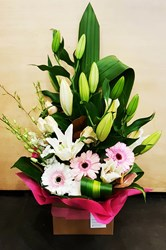 Picture of Tiger Lily with Gerberas Arrangement (Lily stems 6 nos)