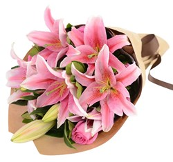 Picture of Pink Tiger Lily Bunch (Lily Stem 5 nos)