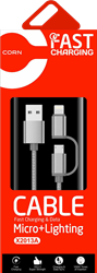 Picture of CORN 2-In-One Data Cable (Micro+Lighting & Type-C Fast Charging) - X2013A / X2013C