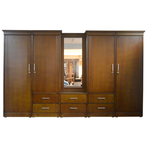 Picture of 5 Unit Wardrobe with Mirror - Teak Colour